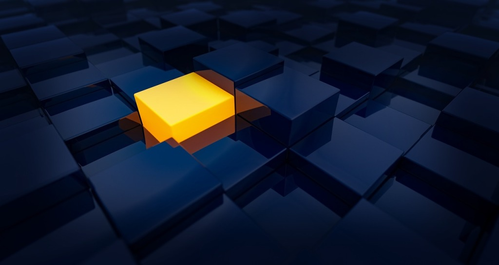 A golden block among unlit bloks shows the power of being empowered, or chosen.